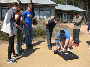 Students use a Solar Pathfinder for a site assessment