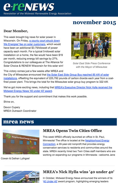 Newsletter Sign-Up | Midwest Renewable Energy Association