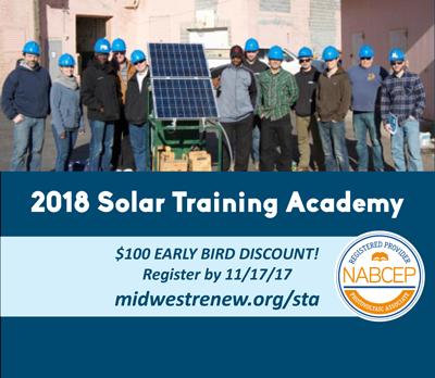$100 Off Registration! 2018 Solar Training Academy