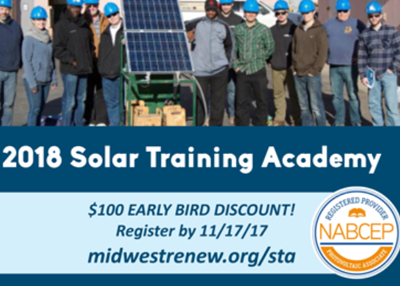 $100 Off Registration by 11/17/17! 2018 Solar Training Academy
